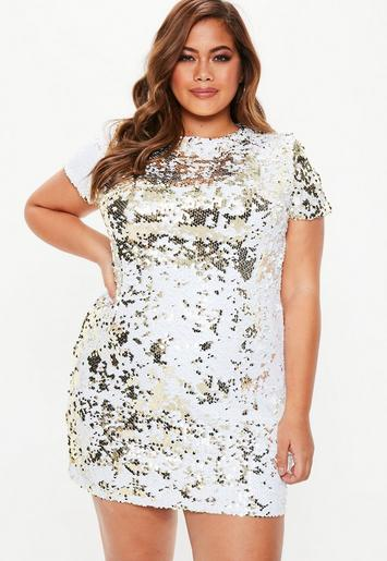 Plus Size Gold Two Way Sequin T-Shirt Dress | Missguided