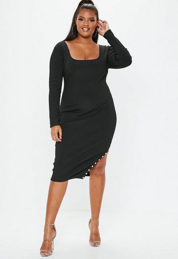 Plus Size Black Bandage Long Sleeve Midi Dress Missguided