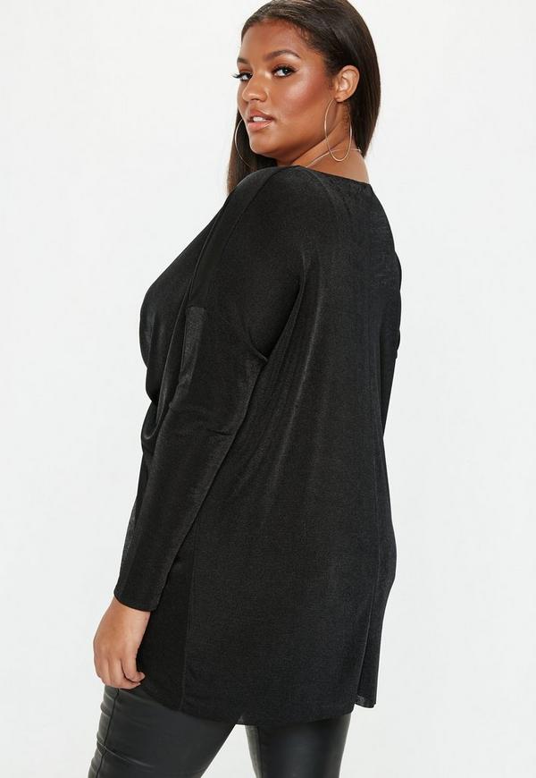 d07d2a4059a Plus Size Black Drape Front Long Sleeve Slinky Top. Previous Next