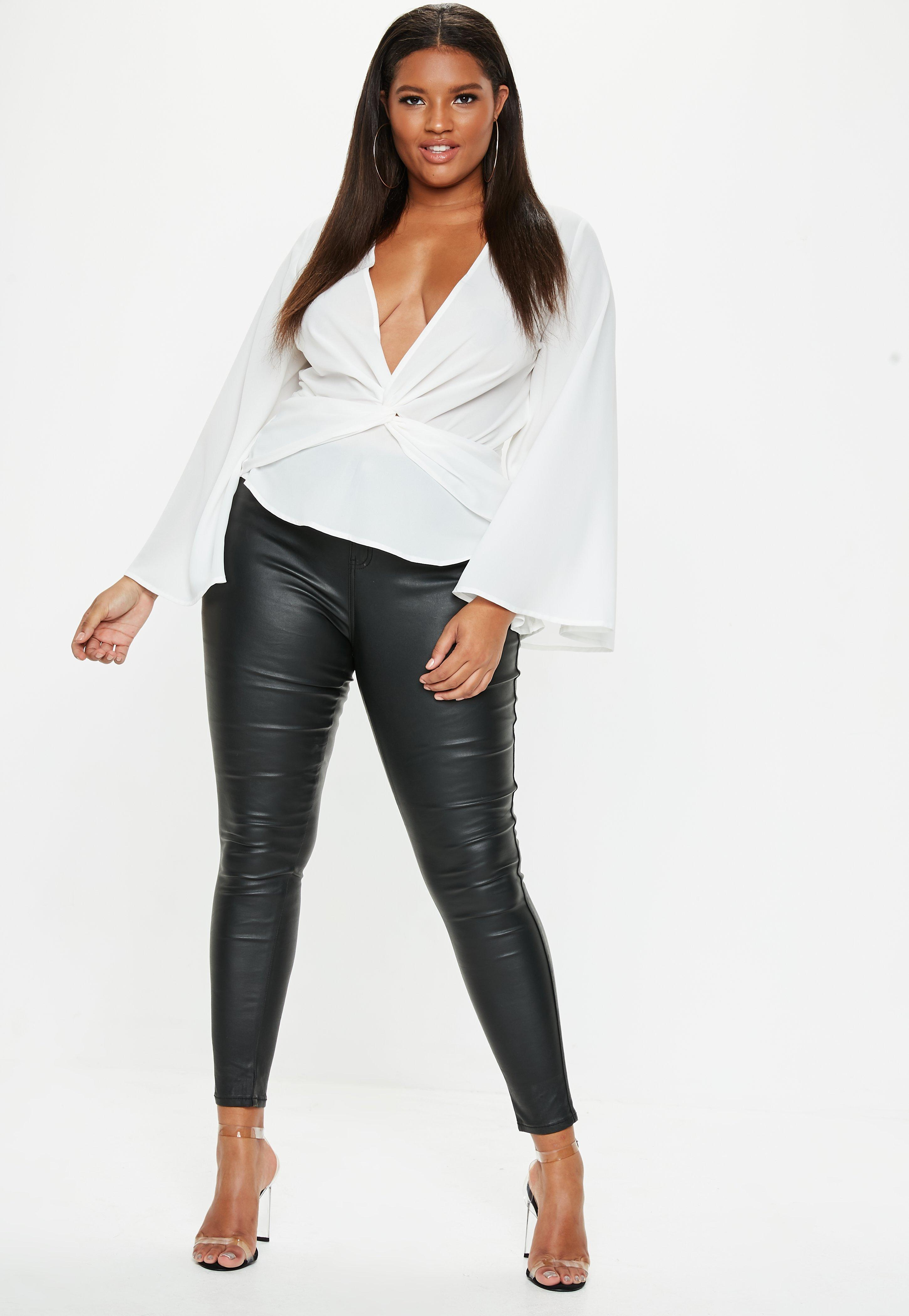 f0125ed7602b53 Plus Size White Twist Front Top | Missguided