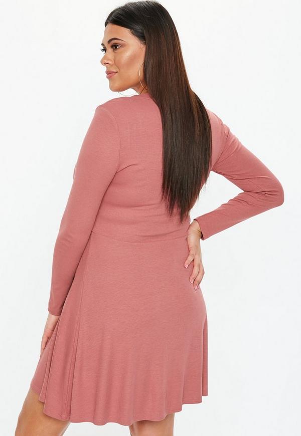 4fa46ba336a ... Plus Size Rose Horn Button Rib Skater Dress. Previous Next
