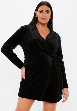 1e09d3313 Vestido blazer talla grande atado de terciopelo en negro