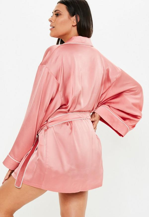 Plus Size Pink Kimono Piped Satin Dressing Gown Missguided