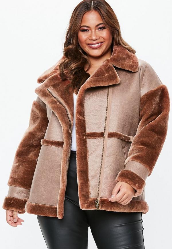 a50044a99507d Plus Size Brown Faux Fur Sleeve Aviator Jacket