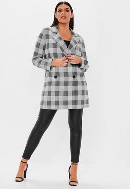 c4247e453ca Abrigo talla grande con doble botonadura en gris