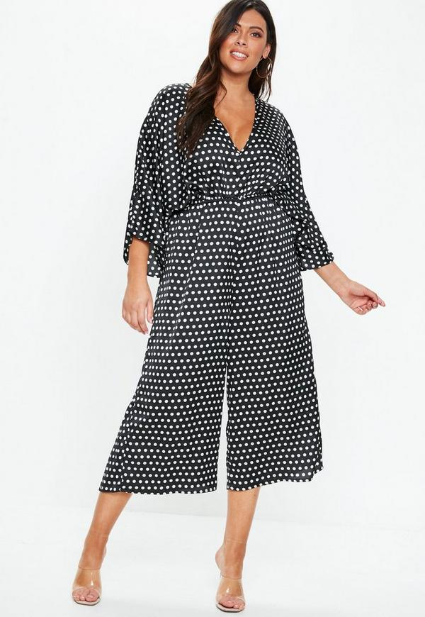 5c275915bcf Plus Size Black Kimono Sleeve Polka Dot Jumpsuit. Previous Next