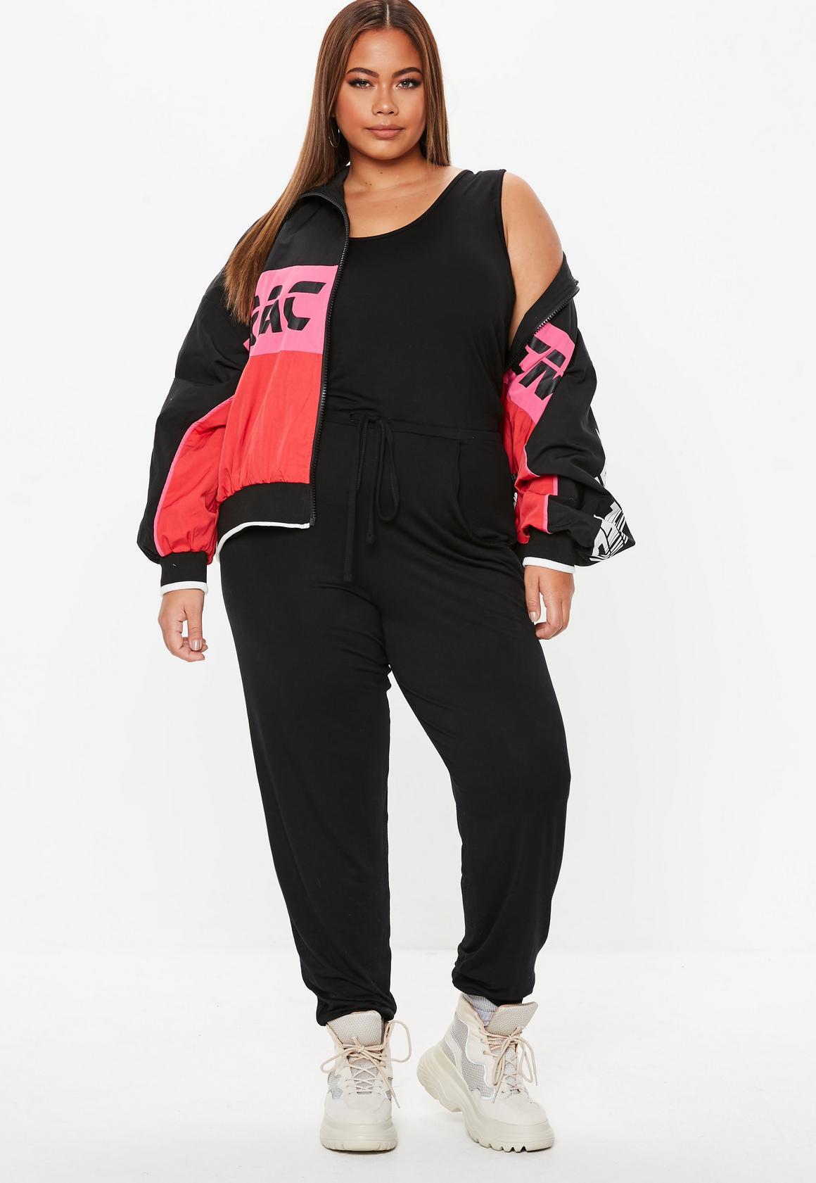 online retailer Clearance sale uk cheap sale Plus Size Black Sleeveless Tie Waist Jumpsuit