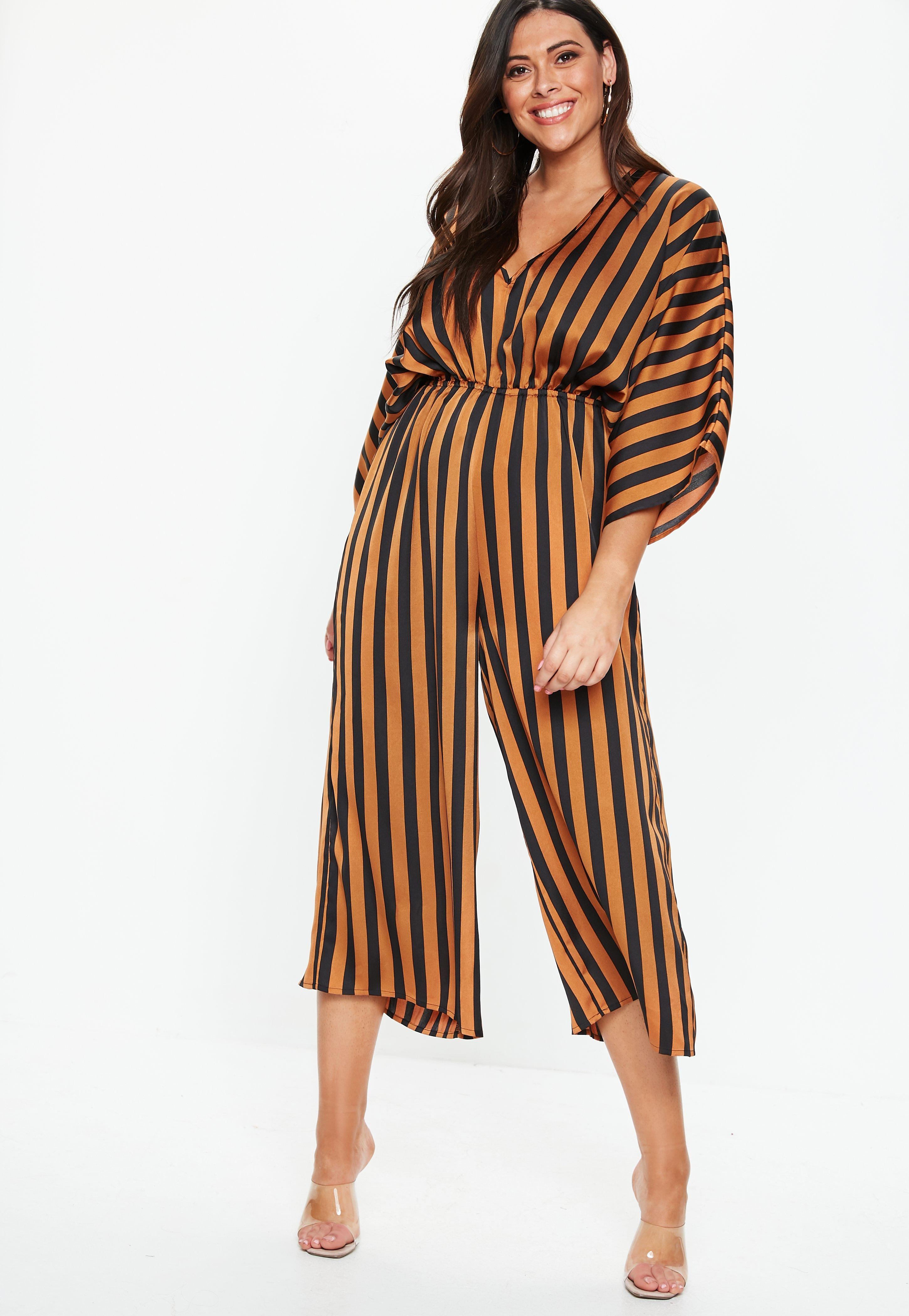 f2531f6232d Plus Size Rust Kimono Sleeve Stripe Jumpsuit