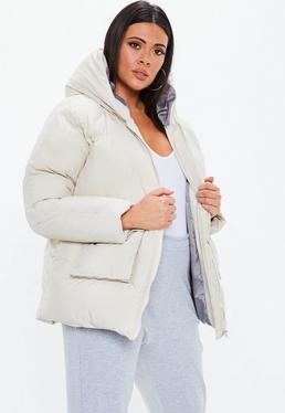 ... Plus Size Cream Ultimate Hooded Puffer Jacket
