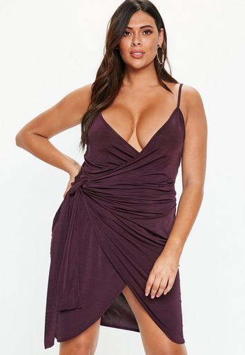 Plus Size Plum Wrap Cami Dress Missguided
