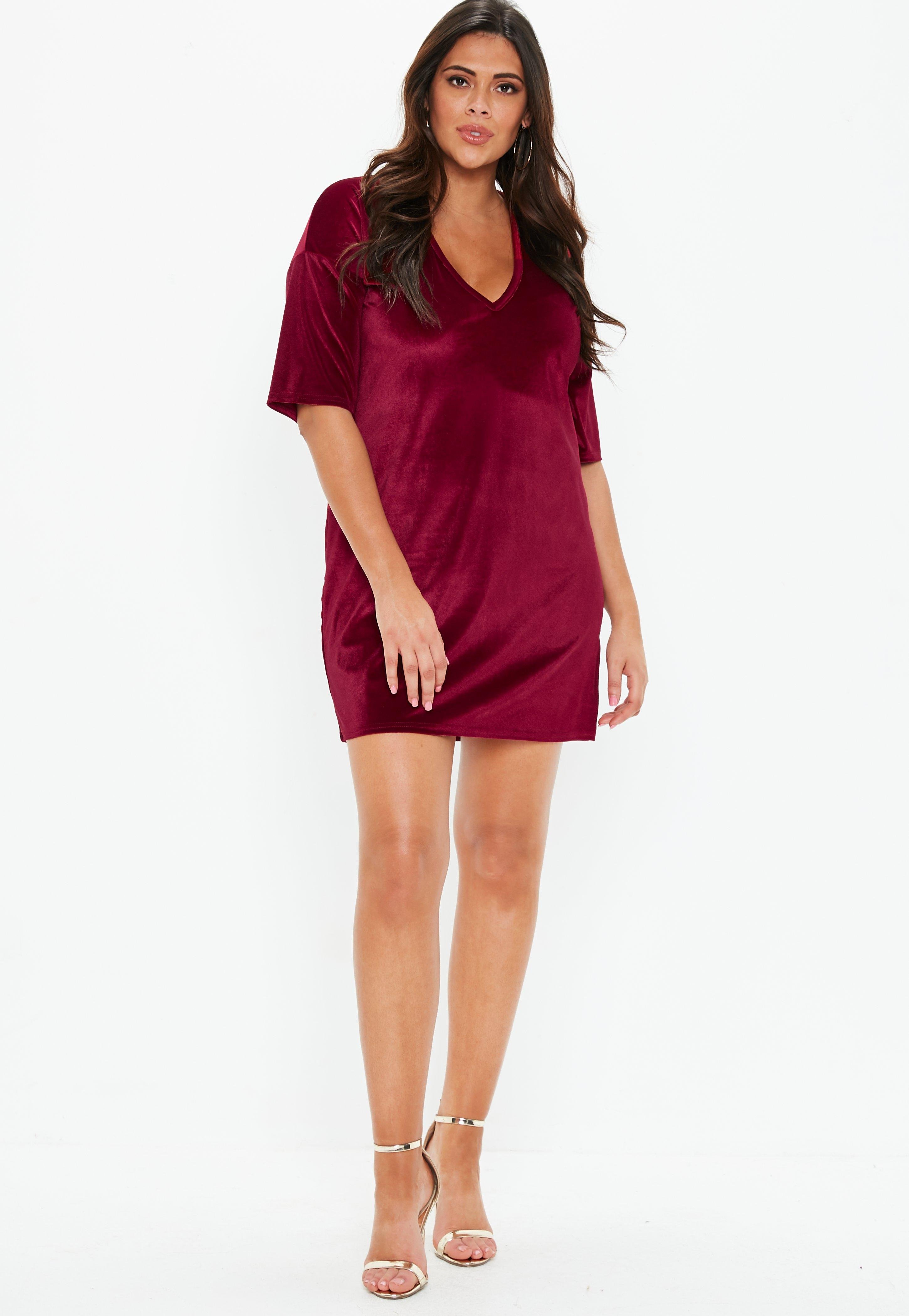 2a566211929 Plus Size Burgundy V Neck Velvet T Shirt Dress
