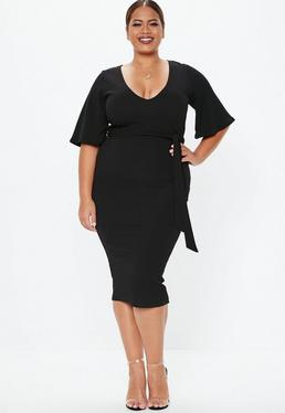 Plus Size Long Tight Black Dress