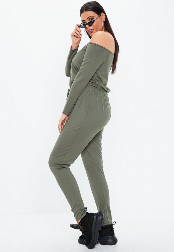 Plus Size Khaki Ribbed Bardot Jumpsuit by Missguided
