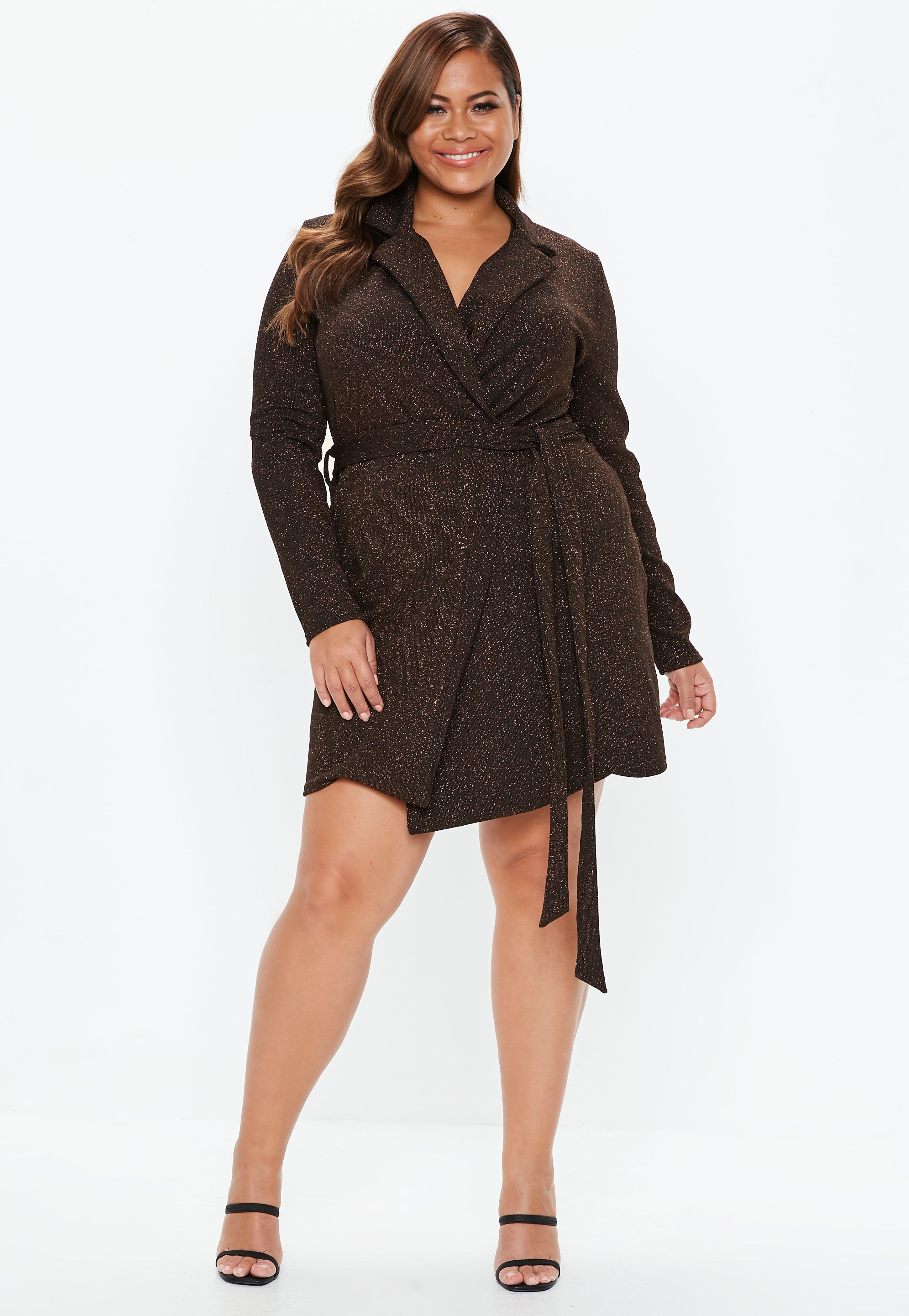 dc212e4b107 Plus Size Bronze Sparkle Blazer Dress