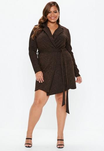 Plus Size Bronze Sparkle Blazer Dress | Missguided