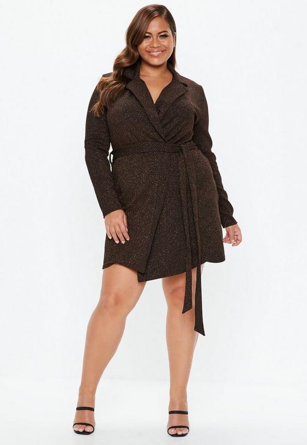 7365d3a76ed ... Plus Size Bronze Sparkle Blazer Dress. Previous Next