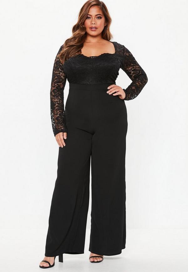 c387535a76c Plus Size Black Lace Wide Leg Jumpsuit