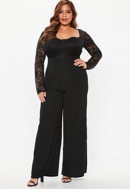 ... Plus Size Jumpsuit mit Spitze und langen Ärmeln in Schwarz 32537d0da2