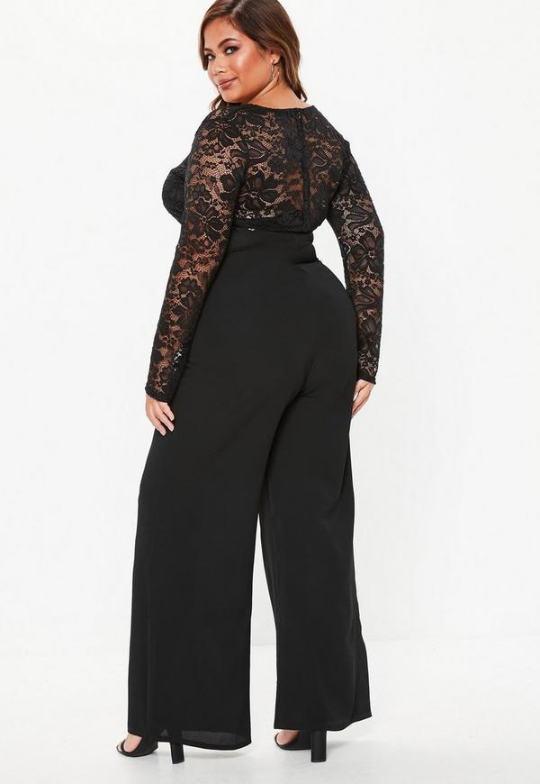 Plus Size Black Lace Wide Leg Jumpsuit Missguided