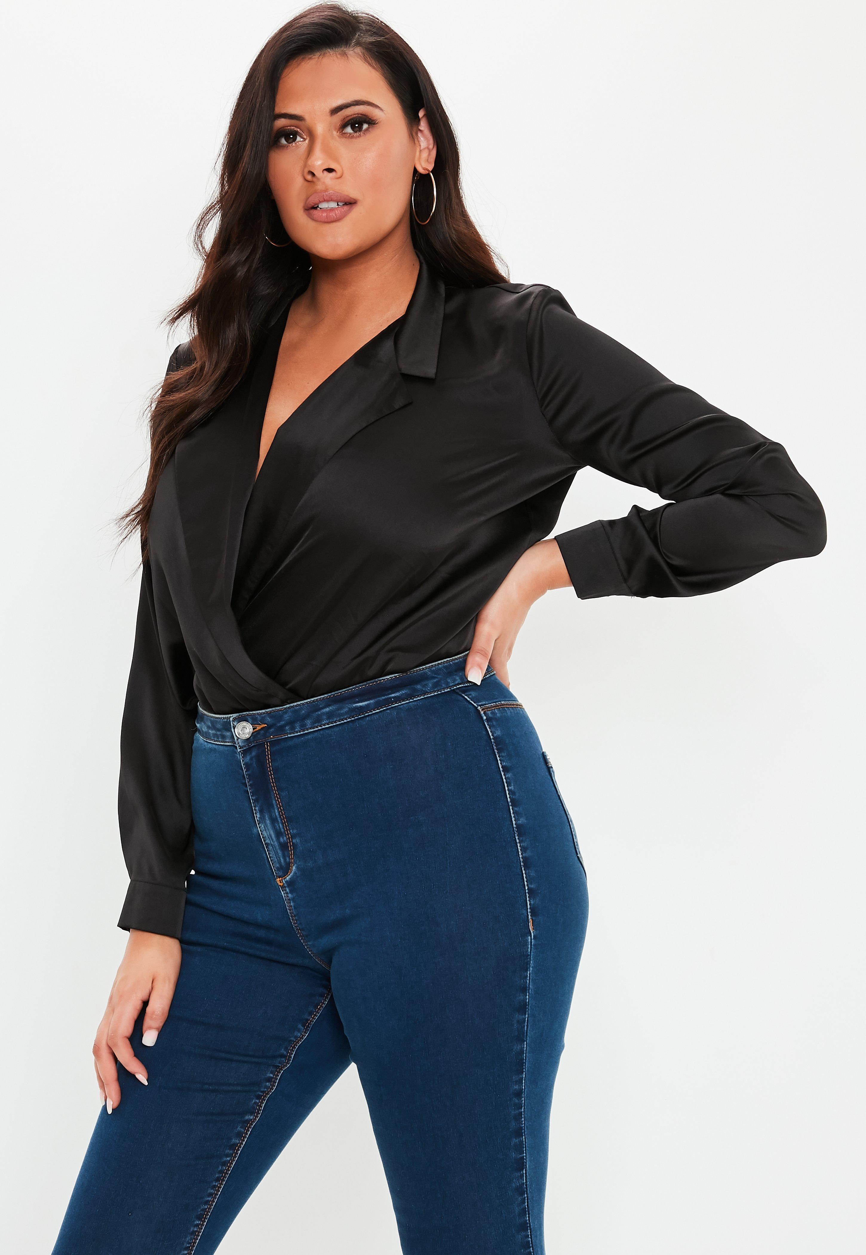 Plus Size Black Satin Tuxedo Bodysuit