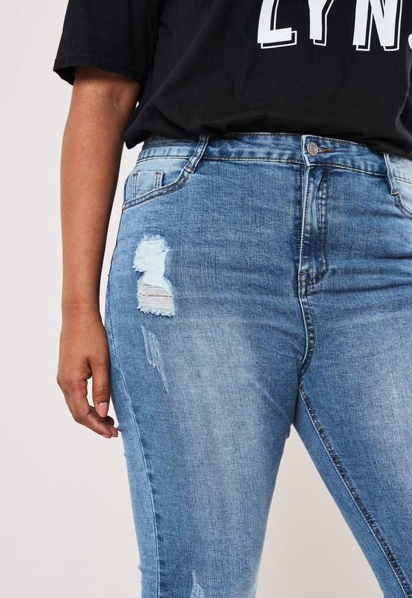 3f43b7cde86 Plus Size Blue Sinner Distressed Skinny Jeans. Previous Next