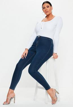 9b63a3b18ed5a ... Plus Size Blue Vice High Waisted Skinny Jeans