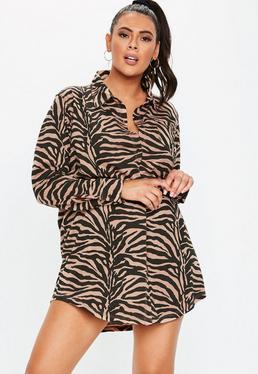 97546a86775 Plus Size Rust Zebra Print Shirt Dress