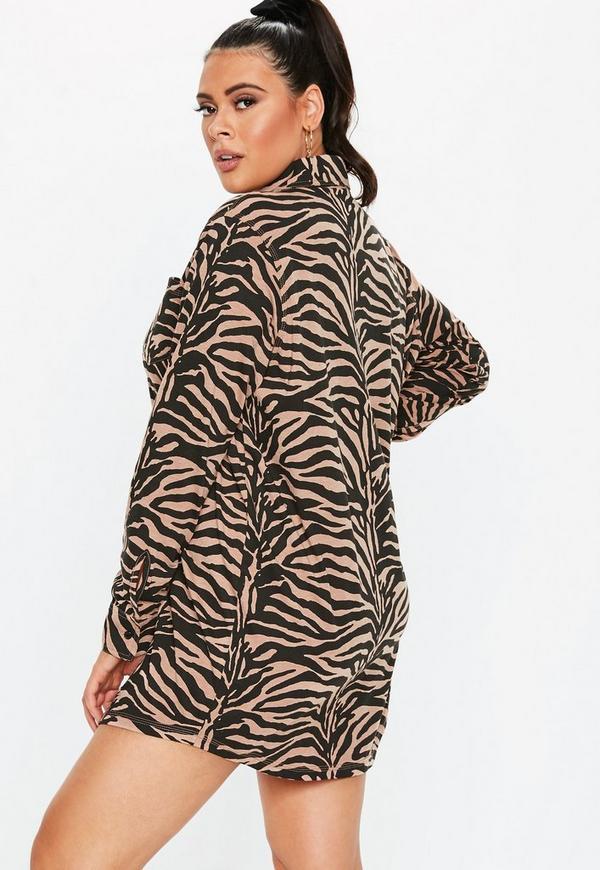 2ed139b33b Plus Size Rust Zebra Print Shirt Dress. Previous Next