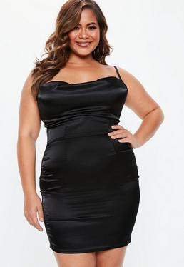 Plus Size Black Satin Cowl Neck Dress