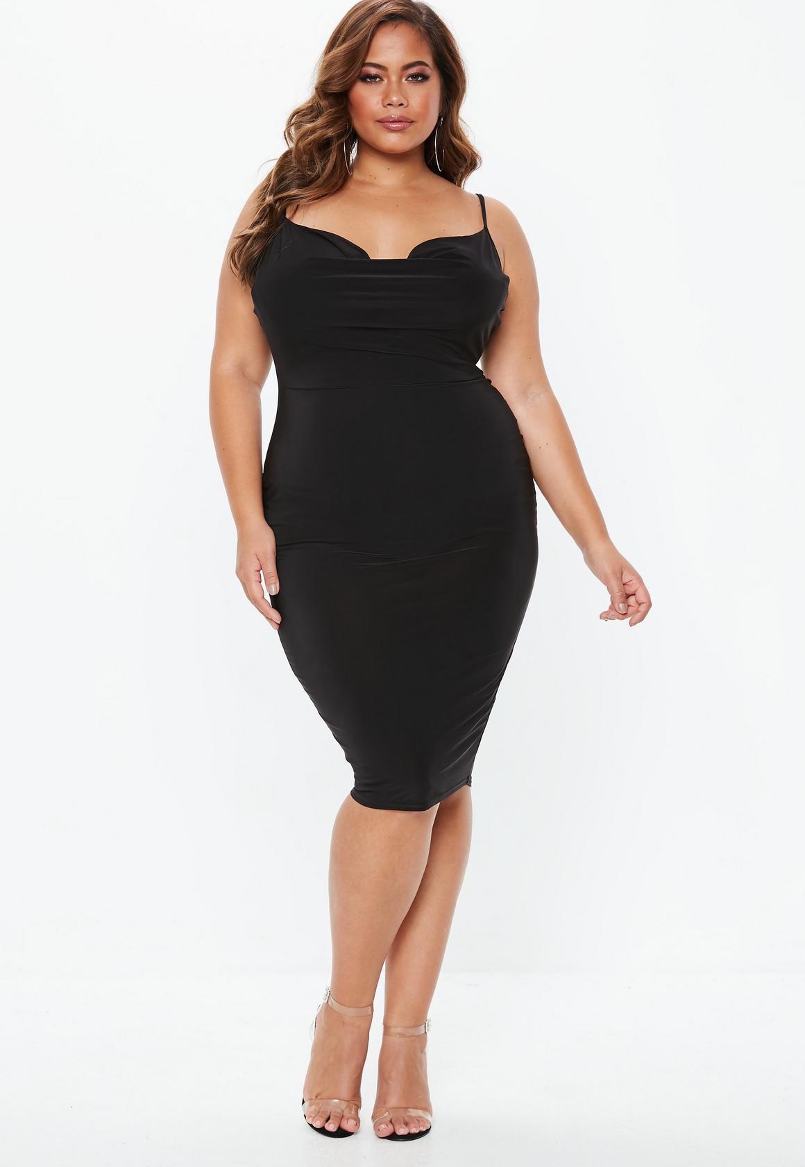 Plus Size Black Slinky Midi Dress