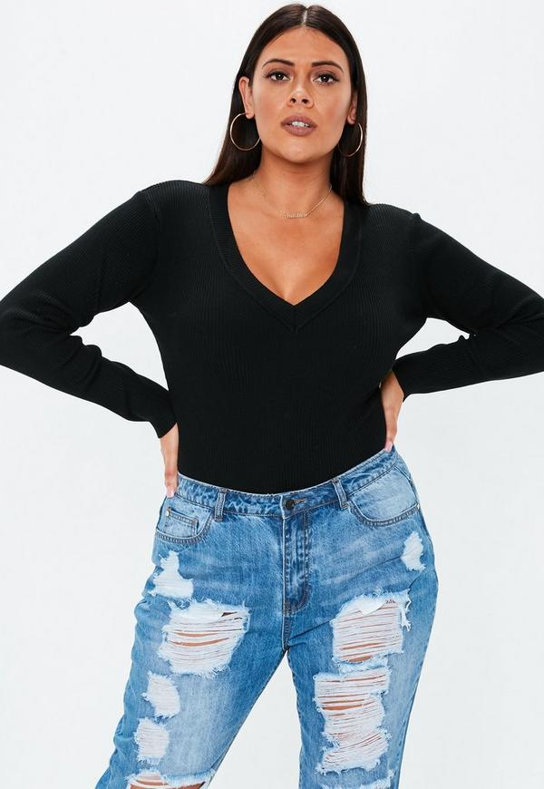 b225b080d32 Plus Size Black Ultimate Plunge Knitted Bodysuit