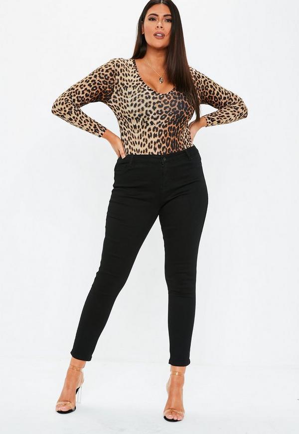 26f204a2ac8fc Plus Size Brown Leopard Print V Neck Bodysuit. Previous Next