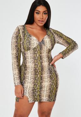 18988c7fb8 Plus Size Yellow Snake Print Mini Dress