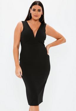 9fbf5f826af ... Plus Size Black V Bar Midi Dress