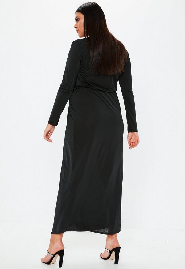 Plus Size Black Twist Front Slinky Maxi Dress Missguided