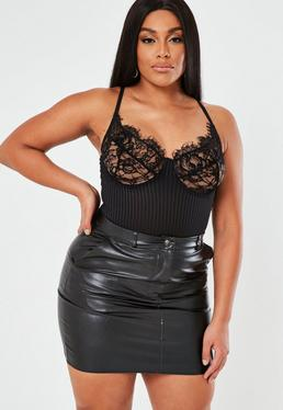 658327720fe ... Plus Size Black Faux Leather Mini Skirt