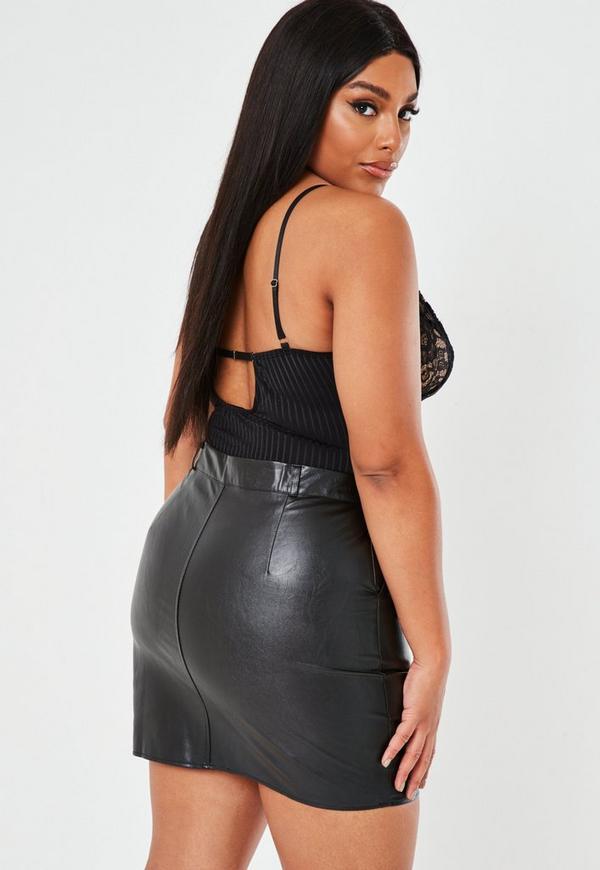 4e78f61bbff Plus Size Black Faux Leather Mini Skirt. Previous Next