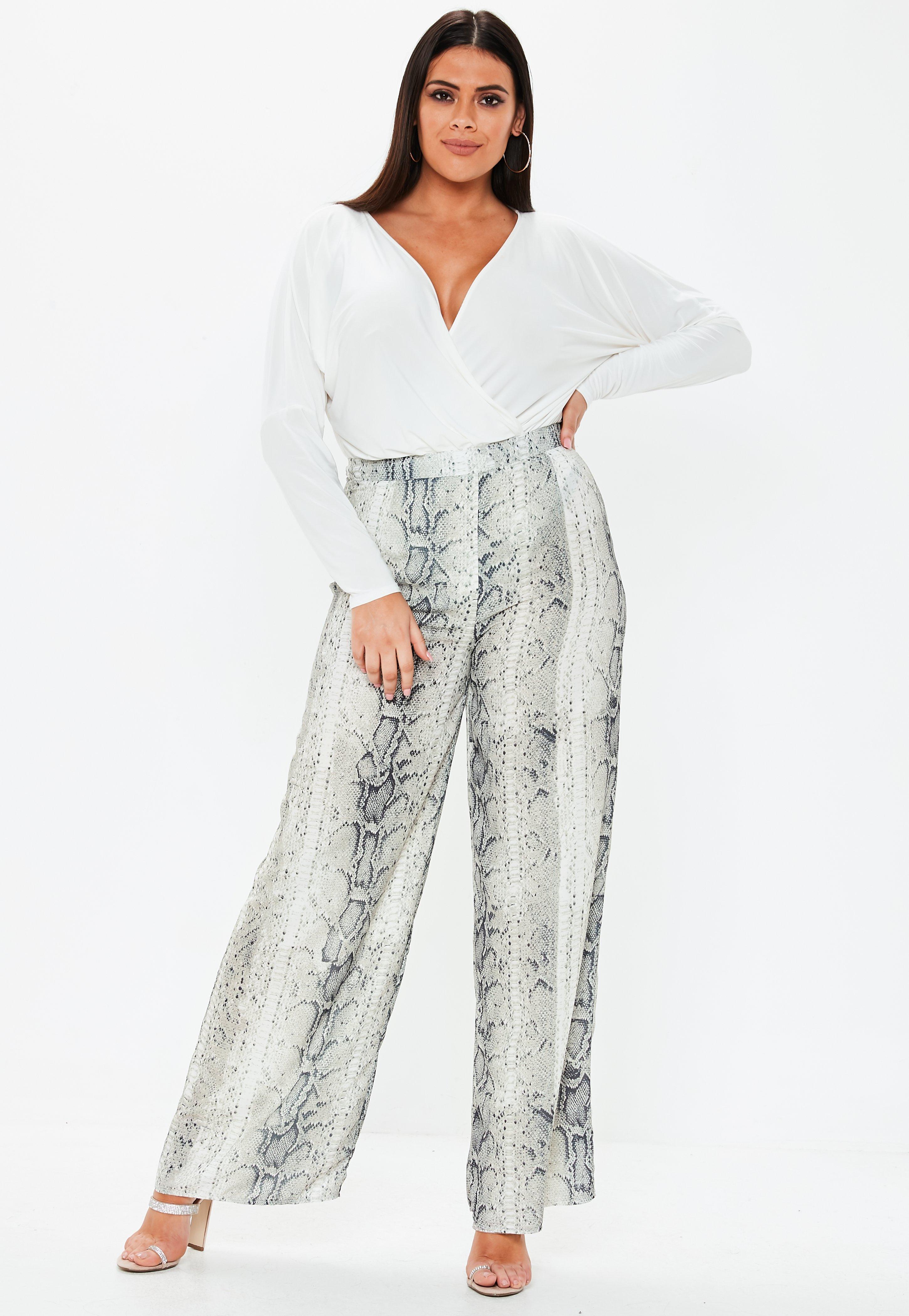 73d475277c1 Plus Size Grey Snake Print Wide Leg Trousers