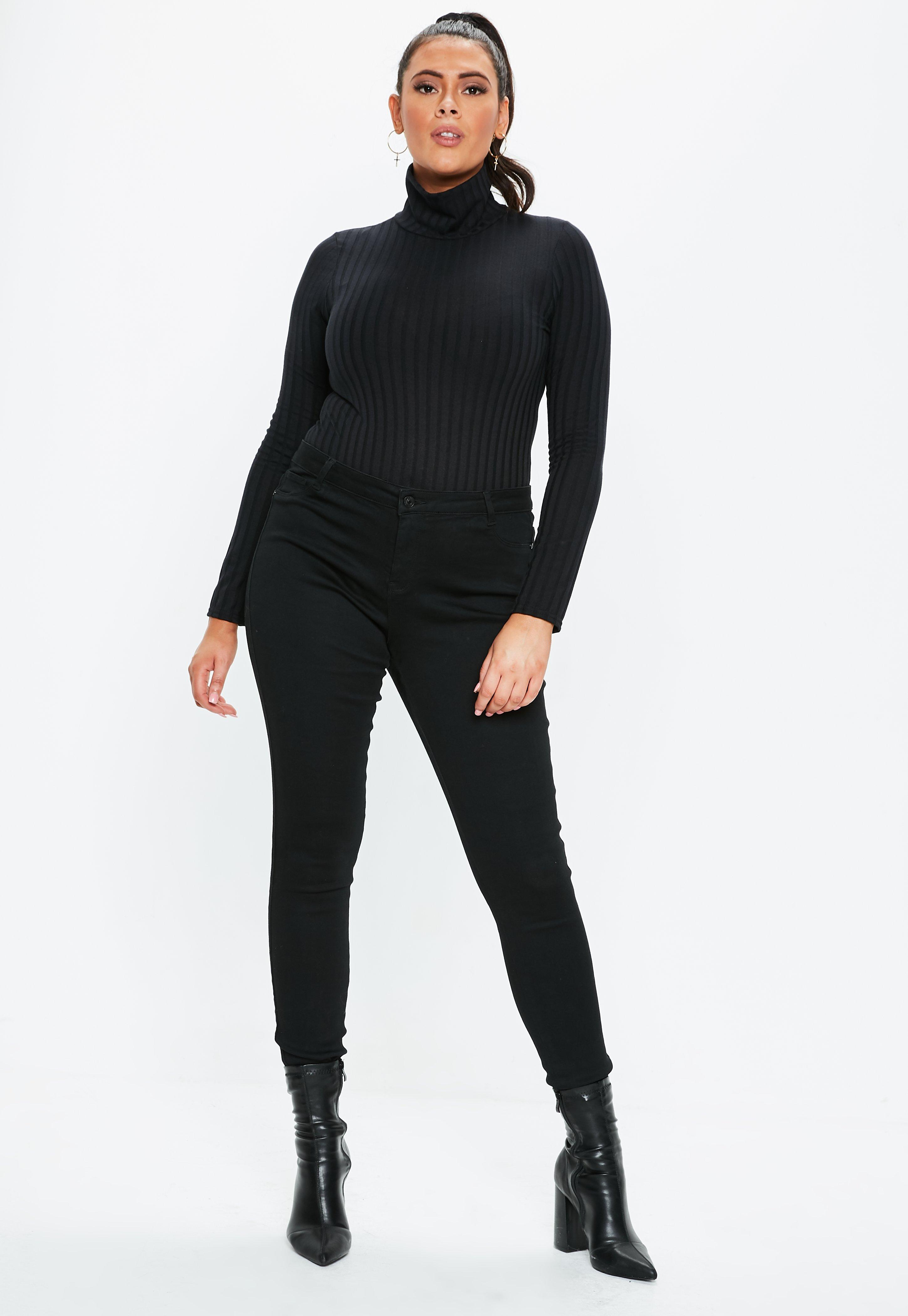 7d4c4f5fc9 Plus Size Black Roll Neck Ribbed Bodysuit | Missguided