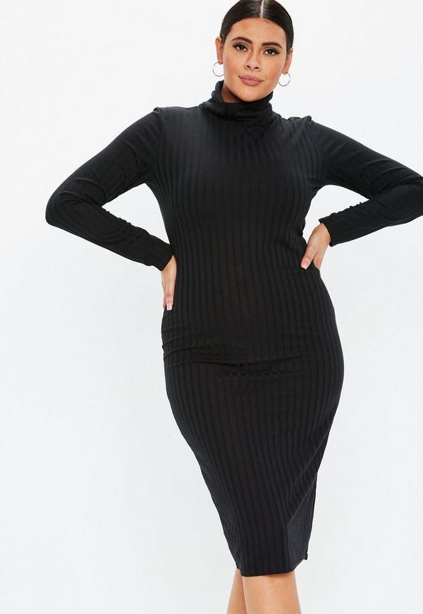 81b3d62f46de0f Plus Size Black High Neck Slinky Midi Dress | Missguided Australia