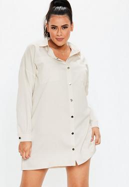 f2ea6edace24 ... Plus Size Sand Pocket Detail Shirt Dress