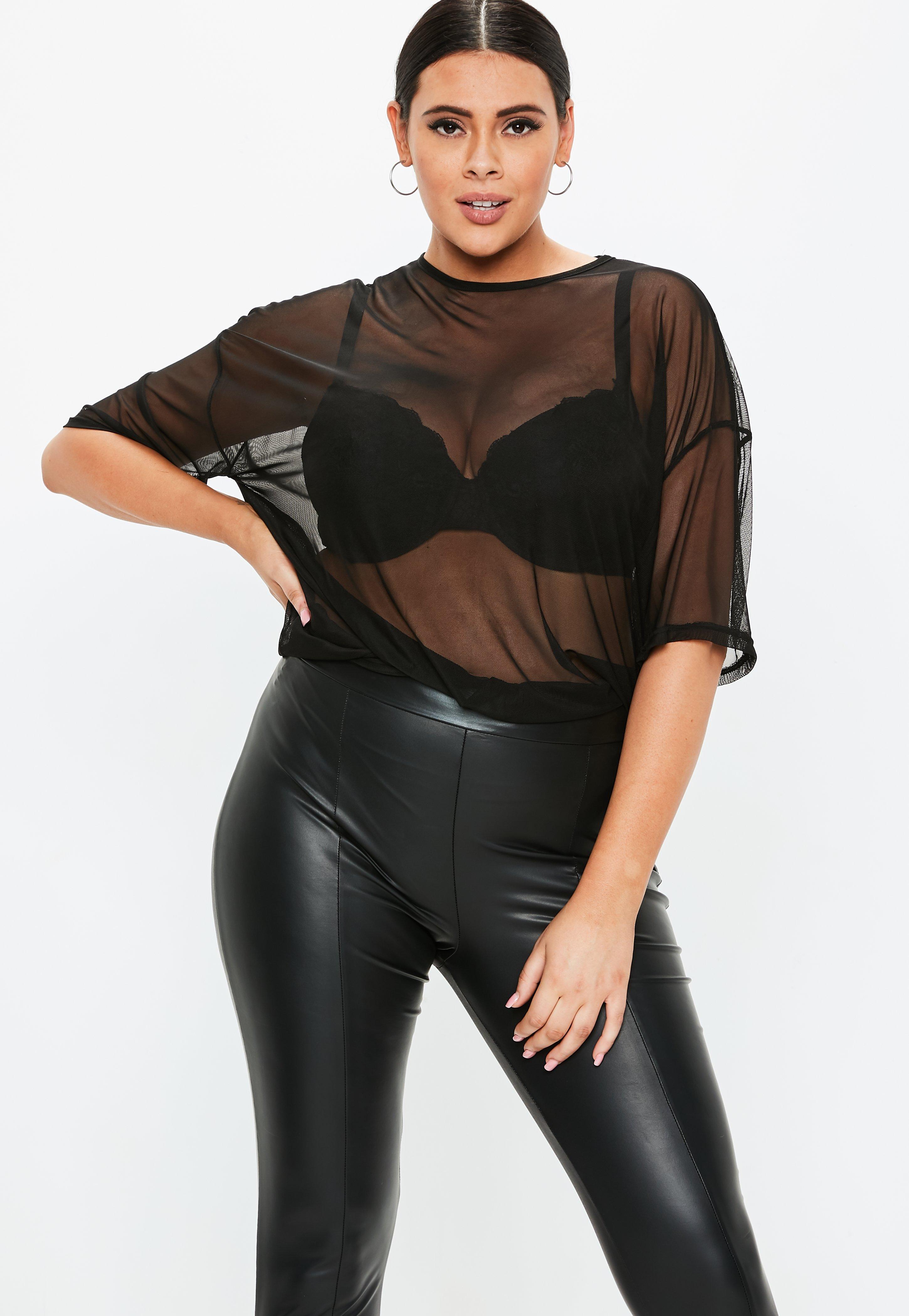 Camiseta Oversize Talla Grande De Transparencias En Negro Missguided