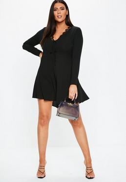 ... Plus Size Black Lace Trim Mini Tea Dress 06d82ab3f