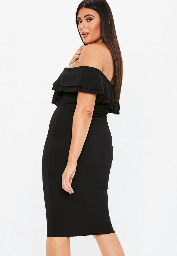 ... Plus Size Black Frill Detail Midi Dress. Previous Next 0ae28361e
