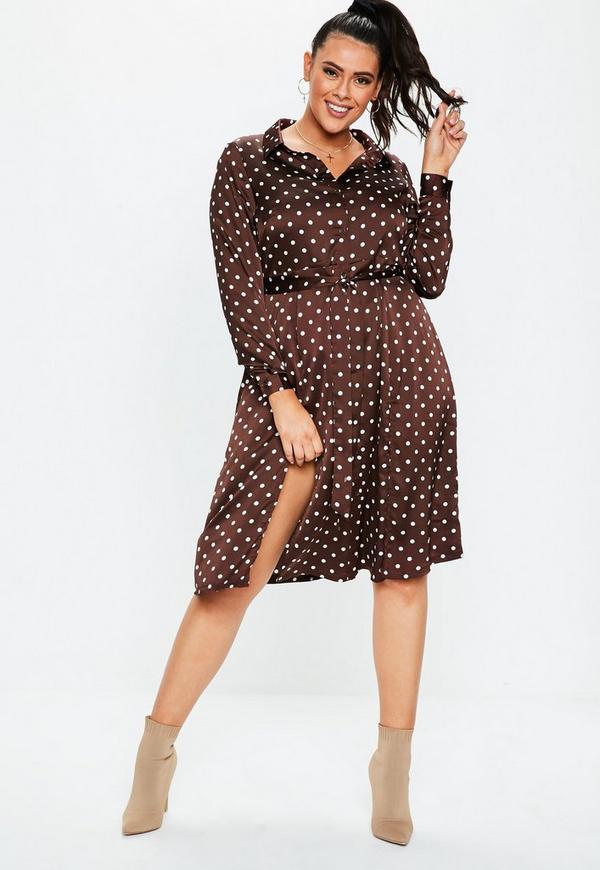 f094289375a2e Plus Size Brown Polka Dot Satin Midi Shirt Dress