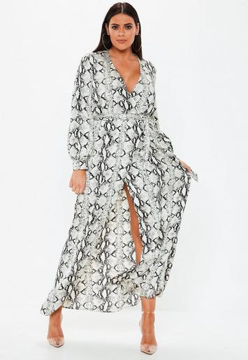 Plus Size Gray Snake Print Plunge Maxi Dress | Missguided