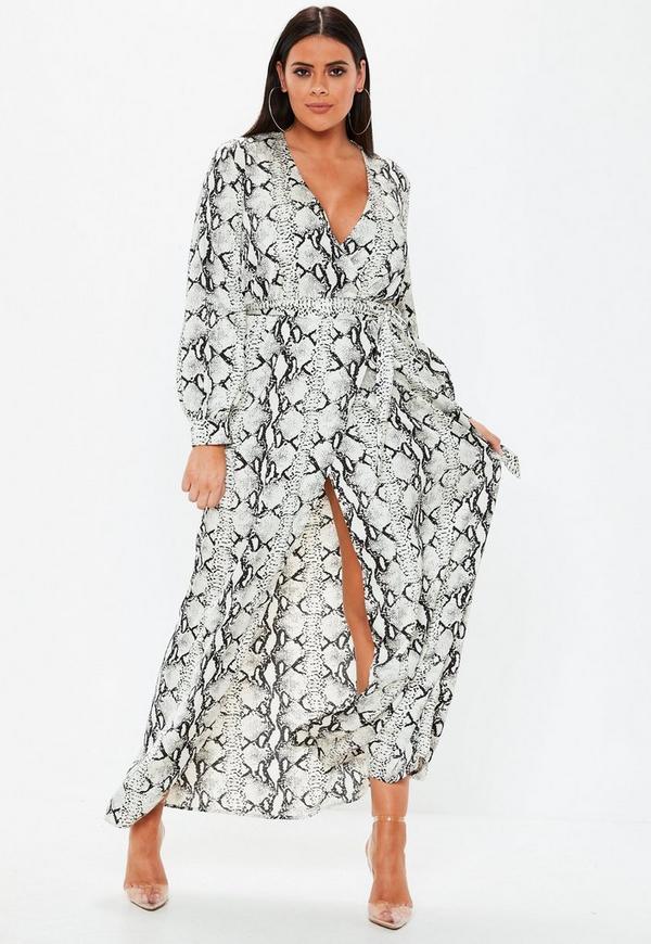 03326441c6 Plus Size Grey Snake Print Plunge Maxi Dress
