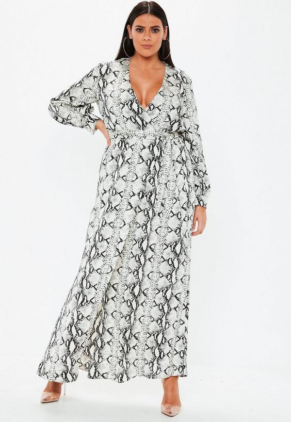 Plus Size Grey Snake Print Plunge Maxi Dress Missguided