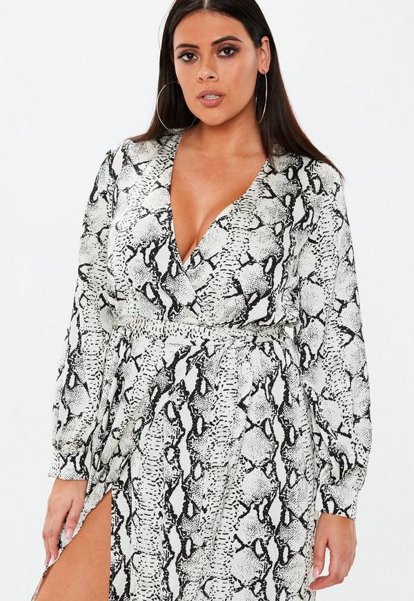45c32033ce Plus Size Grey Snake Print Plunge Maxi Dress. Previous Next