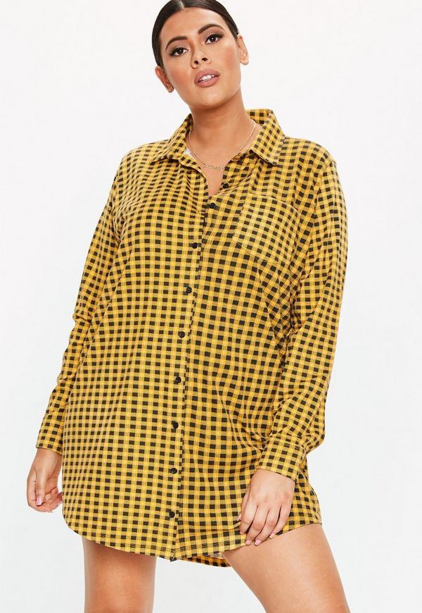 6be29339f49 Plus Size Yellow Check Jersey Shirt Dress